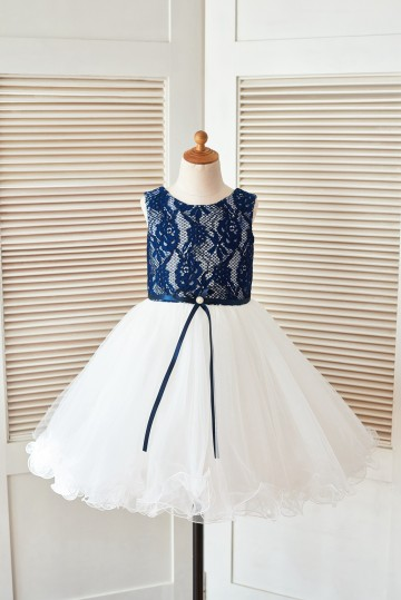 Princessly.com-K1003399 Navy Blue Lace Ivory Tulle Wedding Flower Girl Dress with Curly Hem-20