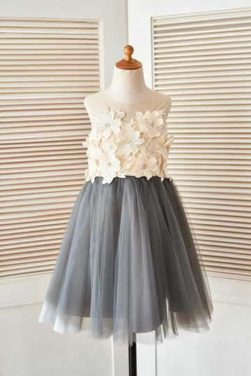 Princessly.com-K1003400 Sheer Illusion Neck Gray Tulle Wedding Flower Girl Dress with Champagne 3D Flowers-20