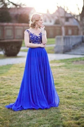 Princessly.com-K1004083 Royal Blue Lace Tulle V Back Wedding Party Dress-20