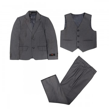Princessly.com-K1003862-3 PCS Gray Boys Suit Page Boy Suit Wedding Occassional Suit-20