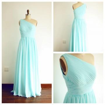 Princessly.com-K1003262-A Line One Shoulder Floor Length Mint Blue Chiffon Bridesmaid Dress-20