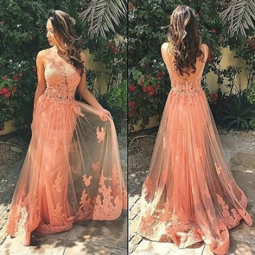Princessly.com-K1004090-Sexy Pink Lace Tulle V Back Wedding Prom Evening Party Dress-20