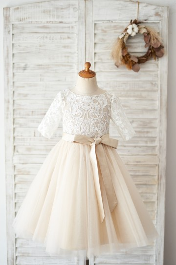 Princessly.com-K1004029-Short Sleeves Ivory Lace Tulle Wedding Flower Girl Dress with Champagne Lining-20