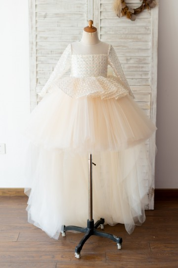 Princessly.com-K1004125-Long Sleeves Champagne Sequin Tulle Hi Low Wedding Flower Girl Dress Kids Party Dress-20