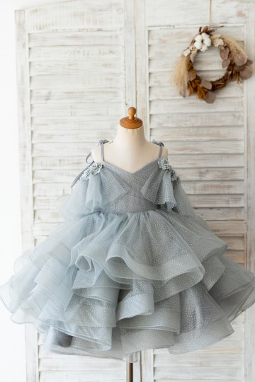 Princessly.com-K1004127-Silver Gray Glittering Tulle Spaghetti Straps V Back Wedding Flower Girl Dress Kids Party Dress-20