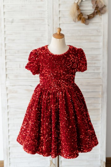 Princessly.com-K1004129-Short Sleeves Burgundy Sequin Wedding Flower Girl Dress Kids Party Dress-20