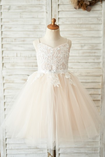 Princessly.com-K1004044-Spaghetti straps Ivory lace Peach Pink Tulle V Neck Wedding Flower Girl Dress-20