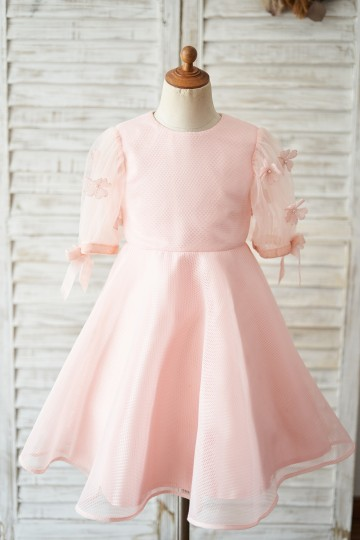 Princessly.com-K1004053-Pink Neoprene Short Sleeves Wedding Flower Girl Dress-20