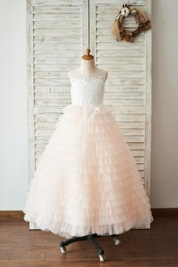 Princessly.com-K1004048-Ivory Lace Peach Pink Cupcake Tulle Keyhole Back Wedding Flower Girl Dress-20