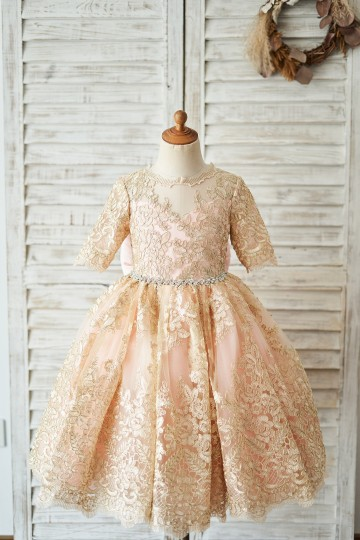 Princessly.com-K1004043-Gold Lace Pink Lining Short Sleeves V Back Wedding Flower Girl Dress-20