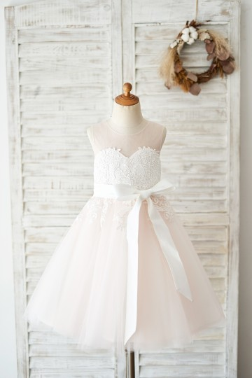 Princessly.com-K1004038-Keyhole Back Ivory Lace Pink Tulle Wedding Flower Girl Dress-20