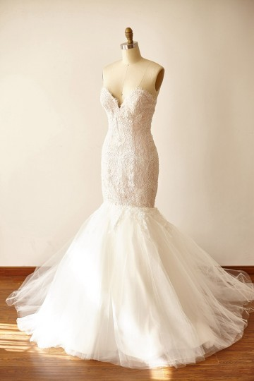 Princessly.com-K1000235-Strapless Sweetheart Ivory Beaded Lace Tulle Pink Lining Mermaid wedding Dress-20