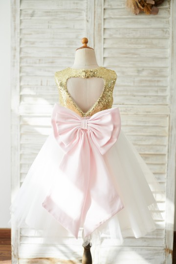 Princessly.com-K1003836-Gold Sequin Ivory Tulle Keyhole Back Wedding Flower Girl Dress with Bow-20