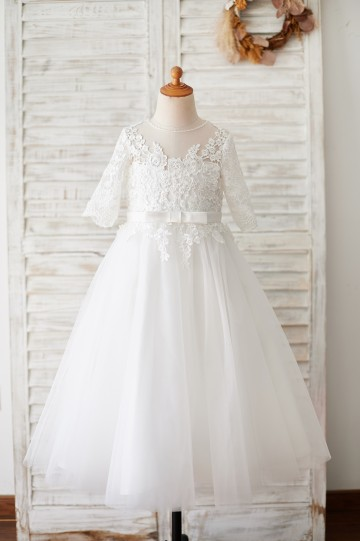 Princessly.com-K1003873-Princess Short Elbow Sleeves Ivory Lace Tulle Wedding Flower Girl Dress-20
