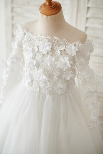 Princessly.com-K1003878-Ivory Lace Tulle Off Shoulder Long Sleeves Wedding Flower Girl Dress with 3D Flowers-20