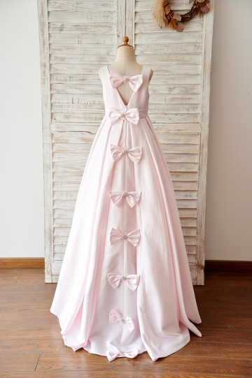 Princessly.com-K1003972-Pink Satin V Back Wedding Flower Girl Dress with Bows-20