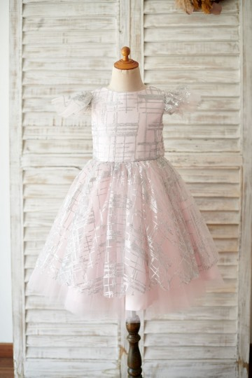 Princessly.com-K1003910-Princess Cap Sleeves V Back Pink Tulle Silver Sequin Wedding Flower Girl Dress-20