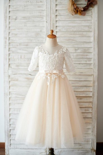 Princessly.com-K1003812-Princess Short Elbow Sleeves Ivory Lace Champagne Tulle Wedding Flower Girl Dress-20