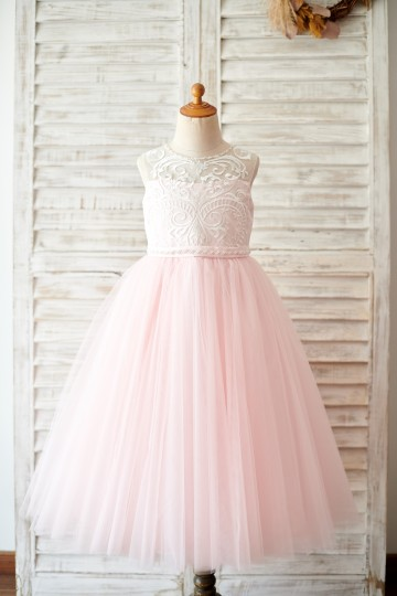 Princessly.com-K1003813-Princess Keyhole Back Ivory Lace Pink Tulle Wedding Flower Girl Dress-20