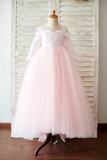 Princessly.com-K1003815-Ball Gown Long Sleeves Pink Lace Tulle Wedding Flower Girl Dress with Train-20