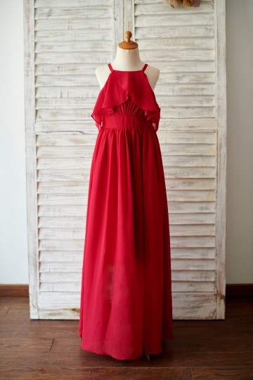 Princessly.com-K1003822-Spaghetti Straps Red Chiffon Wedding Junior Bridesmaid Dress-20
