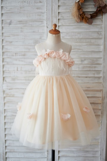 Princessly.com-K1003899-Illusion Champagne Tulle Feathers Wedding Party Flower Girl Dress-20