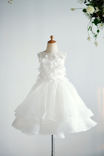 Princessly.com-K1004013-Ivory Organza Lace Wedding Party Flower Girl Dress with 3D Flowers / Pearls-20