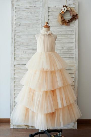 Princessly.com-K1003903-Cupcake Champagne Tulle Halter Neck Floor Length Wedding Flower Girl Dress-20