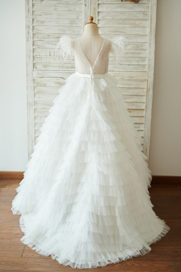 Princessly.com-K1003921-Ivory Tulle Cap Sleeves V Back Cupcake Wedding Flower Girl Dress with Train-20
