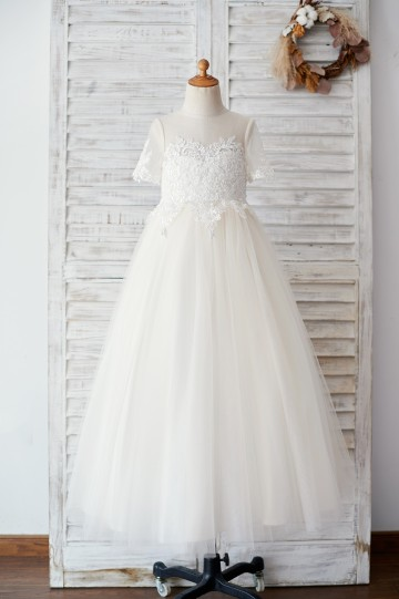 Princessly.com-K1003881-Ivory Lace Champagne Tulle Short Sleeves Wedding Flower Girl Dress-20