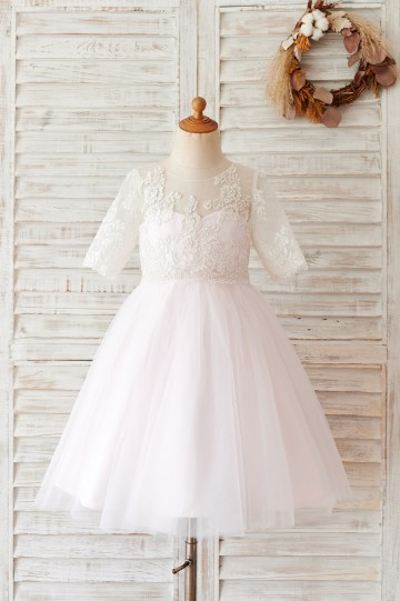 Princessly.com-K1004058-Ivory Lace Pink Tulle Short Sleeves Wedding Flower Girl Dress-20