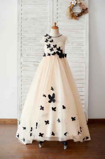 Princessly.com-K1003884-Champagne Tulle Cap Sleeves Wedding Flower Girl Dress with Black Butterflies-20