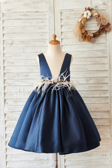 Princessly.com-K1004059-Navy Blue Satin V Neck Wedding Party Flower Girl Dress-20