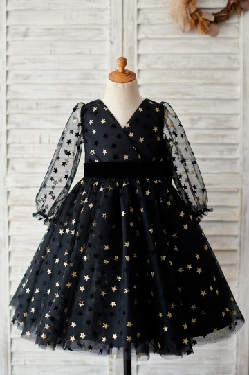 Princessly.com-K1003886-Black Gold Star Tulle V Back Long Sleeves Wedding Flower Girl Dress-20