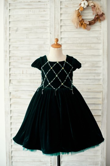 Princessly.com-K1003890-Beaded Green Velvet Corset Back Cap Sleeves Wedding Flower Girl Dress-20