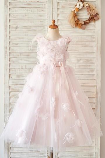 Princessly.com-K1004063-Pink Lace Tulle V Back Wedding Flower Girl Dress with Feather-20