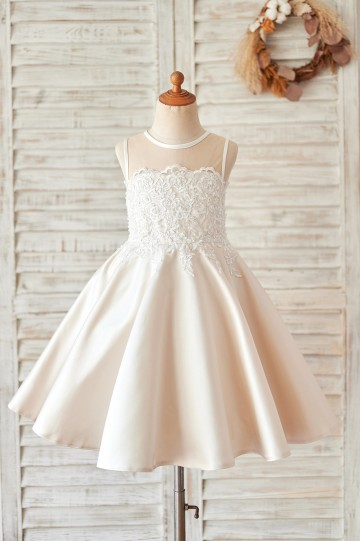 Princessly.com-K1004064-Champagne Satin Ivory Lace Sheer Back Wedding Flower Girl Dress-20