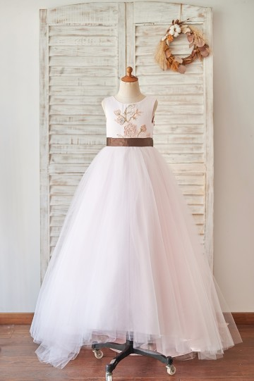 Princessly.com-K1004065-Pink Satin Tulle U Back Wedding Flower Girl Dress with Embroidery Lace-20