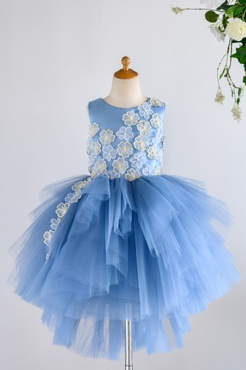 Princessly.com-K1003981-Blue Satin Tulle 3D Flowers Hi-low Wedding Flower Girl Dress-20