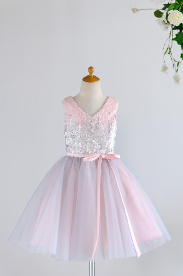Princessly.com-K1003982-Pink Silver Gray Sequin Tulle V Neck Wedding Flower Girl Dress-20