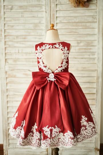 Princessly.com-K1003854-Burgundy Satin Ivory Lace Keyhole Back Wedding Flower Girl Dress-20