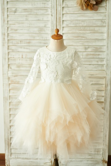 Princessly.com-K1003850-Ivory Lace Champagne Tulle Long Sleeves Wedding Flower Girl Dress-20