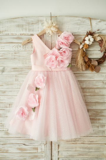 Princessly.com-K1003847-V Neck Pink Satin Tulle Wedding Party Flower Girl Dress-20