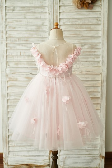 Princessly.com-K1003845-Off Shoulder Pink Tulle Feathers Wedding Party Flower Girl Dress-20