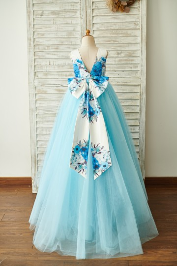 Princessly.com-K1003843-Blue Printed Floral Satin Tulle V Back Wedding Flower Girl Dress with bow-20