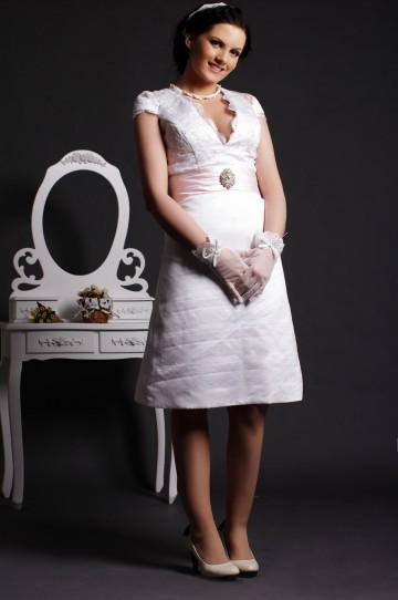 A-line Scalloped V-neck Cap Sleeves Crinkled Knee Length Satin Bridal Dress w/ Crystals