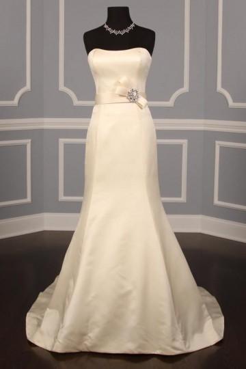 A-line Strapless Natural Waist Court Wedding Dress w/ Belt & Beads