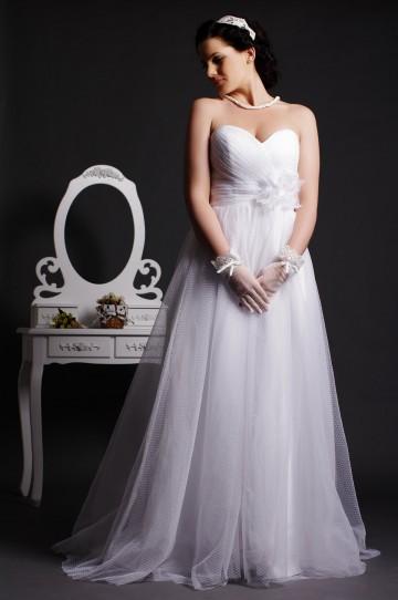 A-line Strapless Sweetheart Empire Waist Layered Pleats Sweep Tulle Wedding Dress w/ Flower
