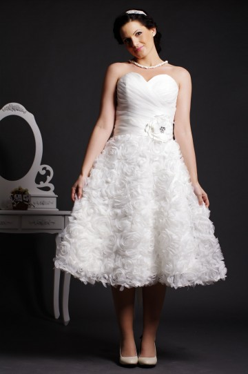 A-line Strapless Sweetheart Gathered Rosettes Belted Organza Wedding Dress w/ Crystals & Flowers