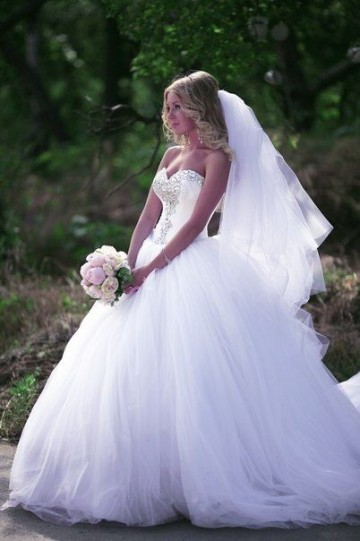 Princessly.com-K1004119 Ball Gown Ivory Tulle Strapless Wedding Party Dress-20
